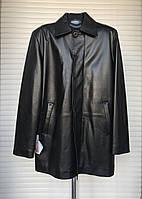 Куртка мужская кожаная натуральная черная длинная на молнии деми, фото 1