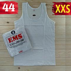Майка мужская хлопок 100% EMS Турция размер XXS-44 белая  однотонная без надписей ММ-2531