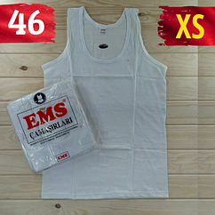 Майка мужская хлопок 100% EMS Турция размер XS-46 белая  однотонная без надписей ММ-2532