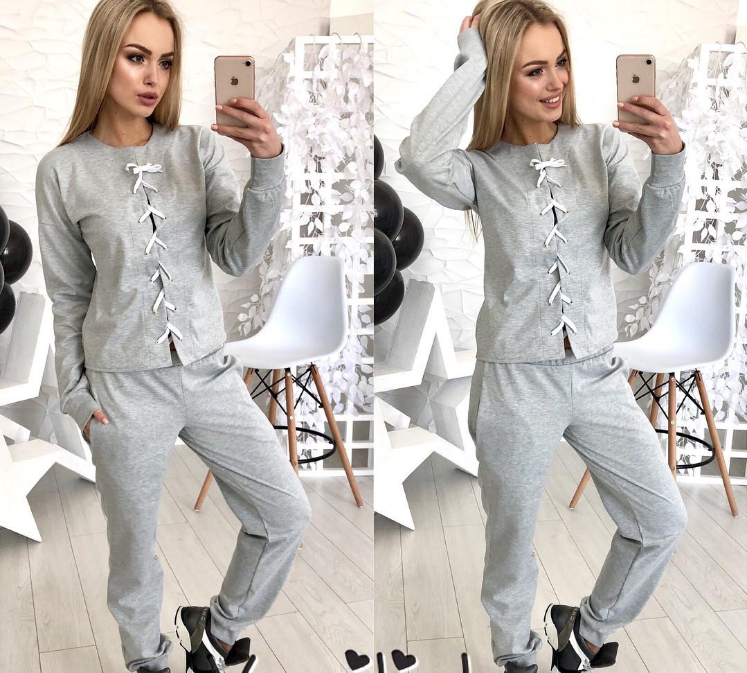 4ff1bfcf940a Модный женский костюм серого цвета с переплетом - Интернет-магазин одежды и  обуви от производителя