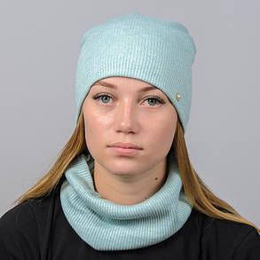 "Комплект ""Ангора рубчик"" шапка+баф, фото 2"