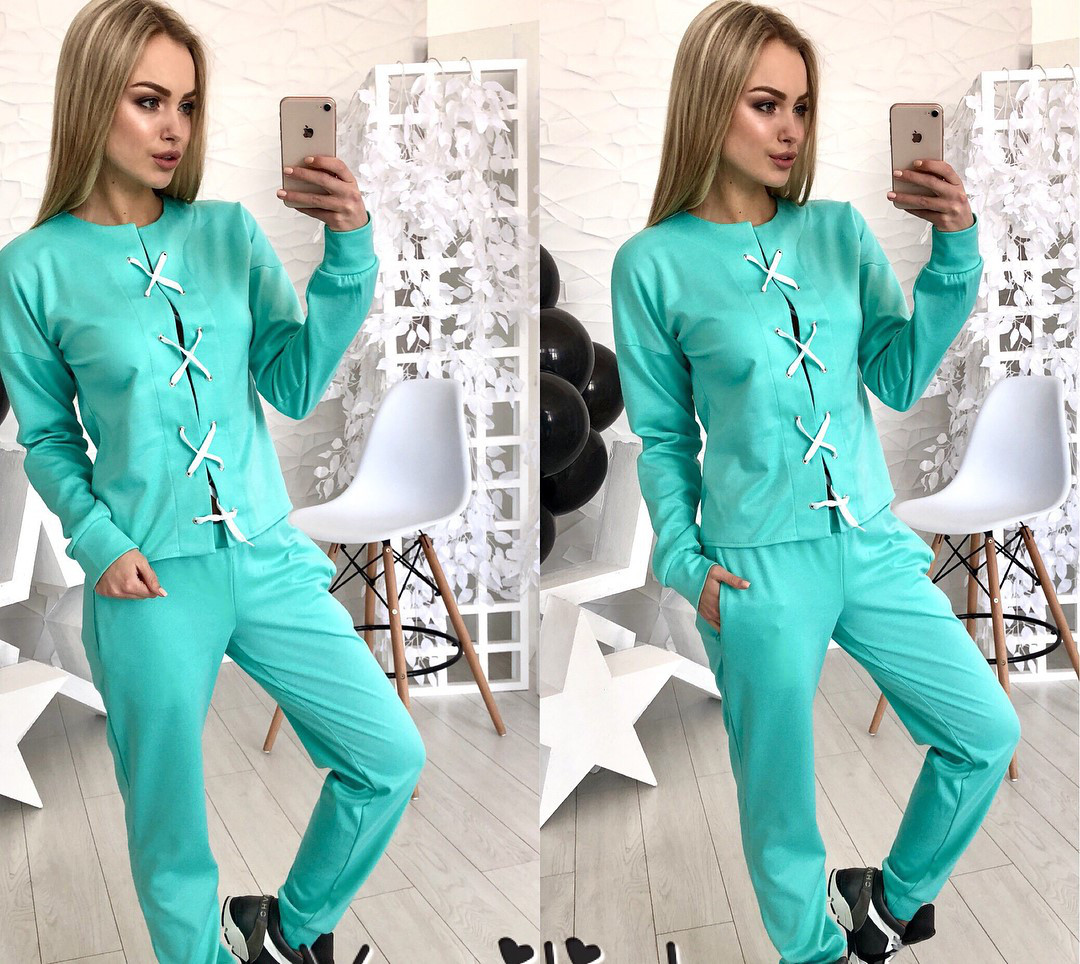 6beb5cfe8821 Модный женский костюм мятного цвета с переплетом - Интернет-магазин одежды  и обуви от производителя