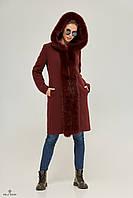 Теплое женское зимнее пальто с капюшоном и натуральным мехом Пв-71, фото 1