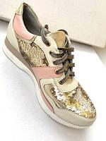 Кожаные женские кроссовки с пайетками, фото 1