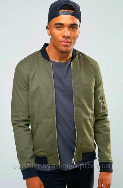 Мужская зеленая демисезонная куртка (бомбер)
