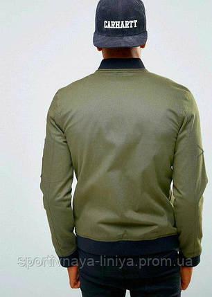 Мужская зеленая демисезонная куртка (бомбер), фото 2