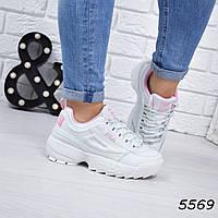 Кроссовки женские Fila Raptor белые+розовые 5569, спортивная обувь, фото 1