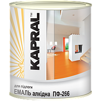 Kapral ПФ-266 - Зносостійка емаль для дерев'яних підлог, 2.8 кг , червоно-коричнева