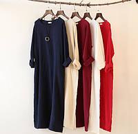 Широкое свободное платье, платье Casual , платье бочонок из плотного льна. Цвет и размер любой!, фото 1