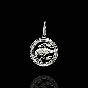 Серебряная подвеска, знак зодиака, Рак, фото 2