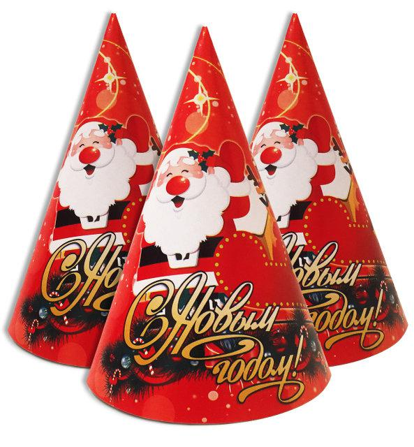 """Колпачки, колпаки праздничные, маленькие """"С новым годом дед Мороз"""""""