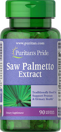 Здоров'я простати екстракт пальметто Puritan's Pride Saw Palmetto Екстракт 90 softgels, фото 2