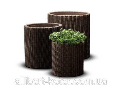 Комплект з трьох круглих горщиків S+M+L CYLINDER PLANTERS темно-коричневий (Keter)