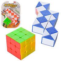 Головоломка змійка, кубик рубика, 2 кольори, в блістері, 19,5-27,5-6 см