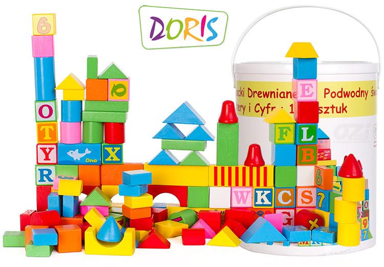 Деревянные кубики в ведре Doris 128 шт