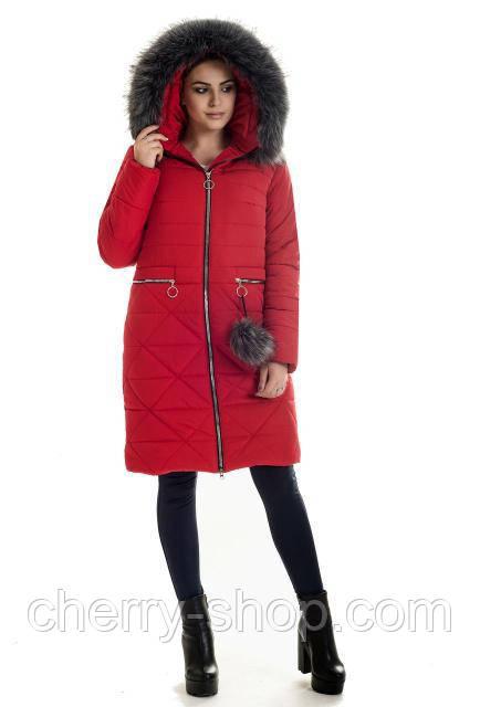 427ff44c4 Пуховик молодежный зимний красного цвета с мехом - Интернет-магазин