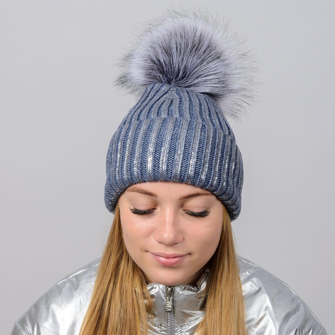 """Блестящая женская шапка """"Dinara"""" с меховым помпоном"""