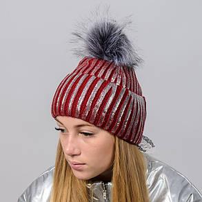 """Блестящая женская шапка """"Dinara"""" с меховым помпоном, фото 2"""