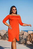 Батальное платье с открытыми плечами