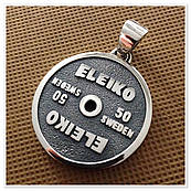 "Кулон Диск Блин от штанги  ""ELEIKO 50 kg"" из серебра"