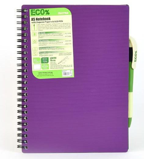 Блокнот Mintra Eco Pen A5 80 5*5 ассорти арт. 985454