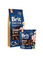 Brit Premium by Nature ADULT M 15 кг - корм для взрослых собак средних пород (10-25 кг)