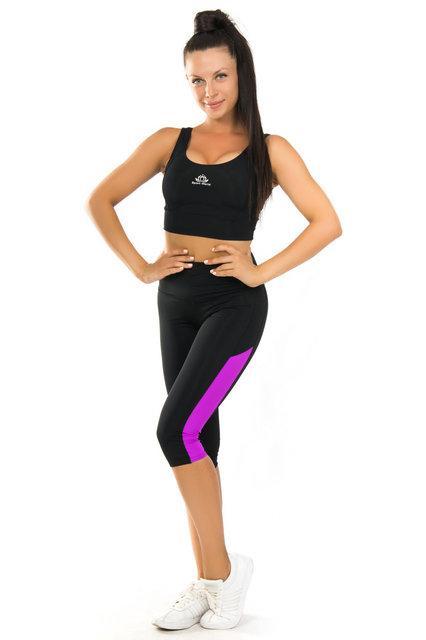 Одежда для йоги и фитнеса (40.42,44,46,48,50,52) (женский спортивный комплект топ и бриджи ЧЕРНЫЙ-ФУКСИЯ