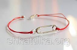 Браслет Серебряная булавка на красной нитке