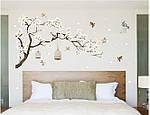 Самоклеющаяся  наклейка  на стену  Ветка дерева с птицами (187х128см), фото 2