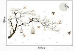 Самоклеющаяся  наклейка  на стену  Ветка дерева с птицами (187х128см), фото 3