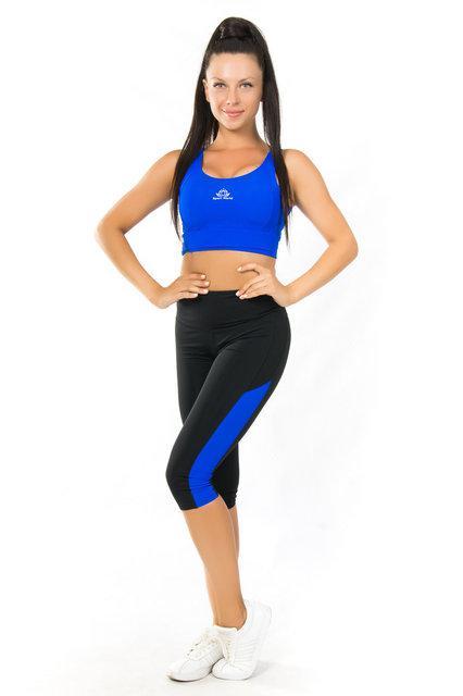 Женская одежда для йоги и фитнеса (40,42,44,46,48,50,52) комплект для спорта топ и бриджи ЭЛЕКТРИК (СИНИЙ)