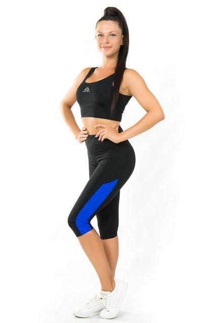 Комплект топ и бриджи для йоги и фитнеса (40,42,44,46,48,50,52) женская одежда для спорта ЧЕРНЫЙ-СИНИЙ