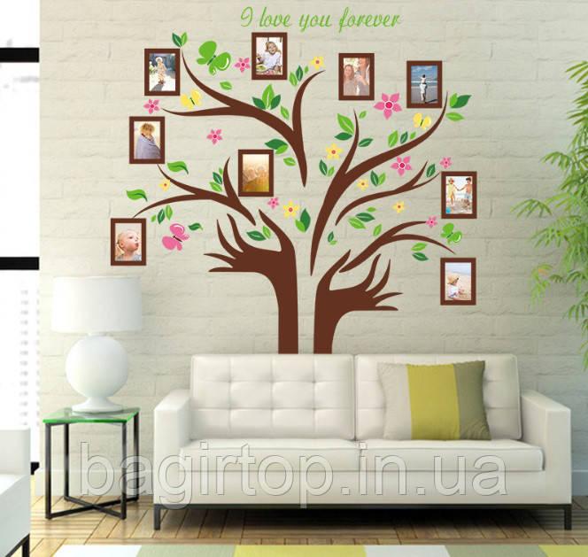 Самоклеющаяся  наклейка  на стену  Дерево и рамки (172х145см)