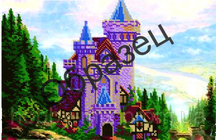 """Схема для частичной вышивки """"Замок на холме"""""""