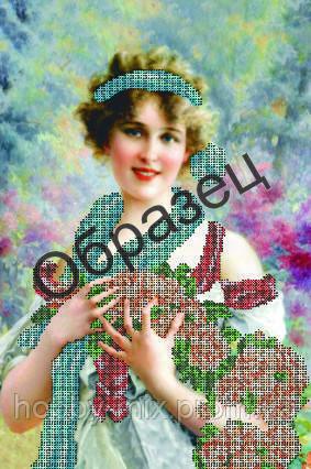 """Схема для частичной вышивки """"Дама голубой шарф"""", фото 2"""
