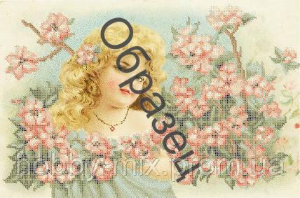 """Схема для частичной вышивки """"Девочка в цветах"""", фото 2"""