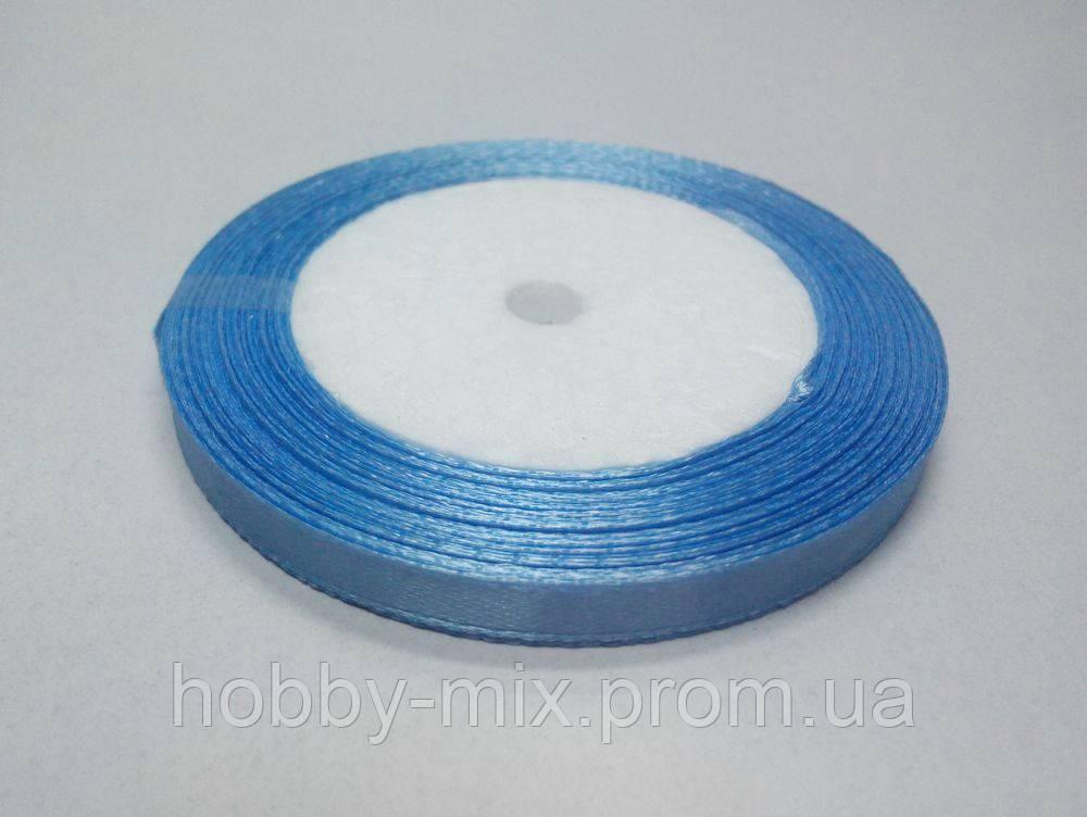 Лента атлас 6 мм, голубой васильковый