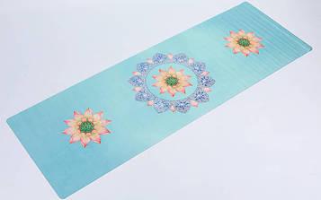 Коврик для йоги и фитнеса замшево-каучуковый двухслойный (1,83мx0,61мx1мм, голубой )