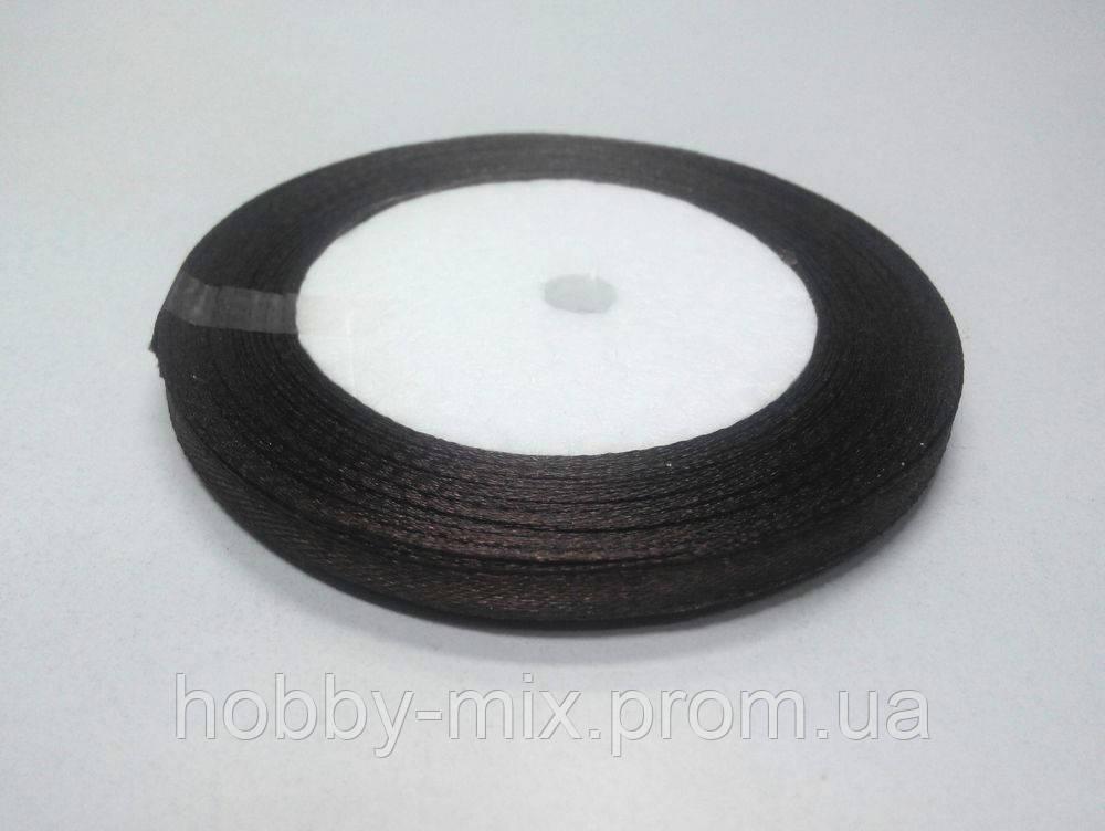 Лента атлас 6 мм, темно-коричневый
