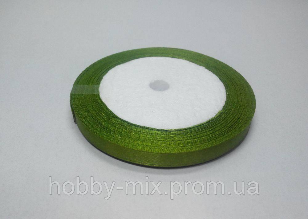 Лента атлас 6 мм, оливковый