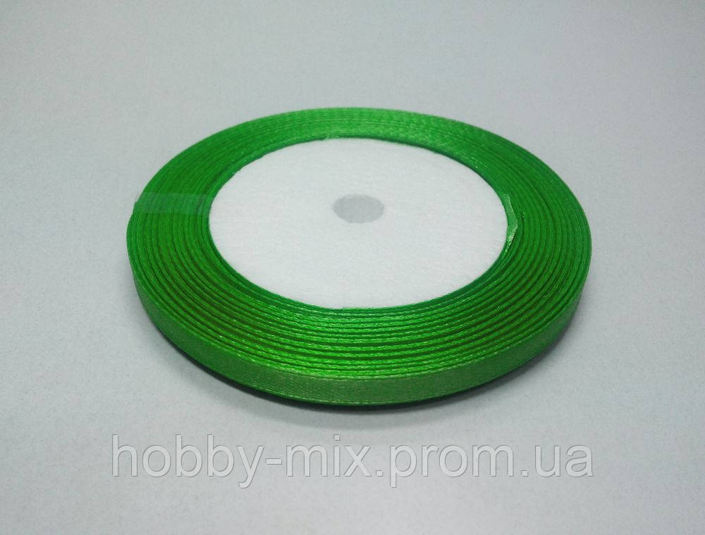 Лента атлас 6 мм, салатово-зеленый