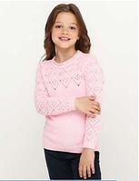 Свитер для девочек розовый с узором