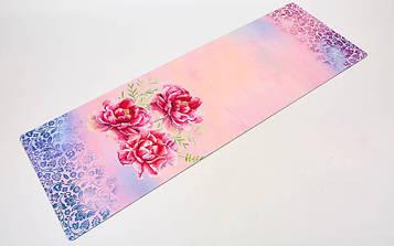 Коврик для йоги и фитнеса замшево-каучуковый двухслойный (1,83мx0,61мx3мм, розовый)