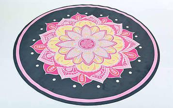 Килимок для йоги замшево-каучуковий 3мм двошаровий (принт Вогненна квітка, діаметр 150см)