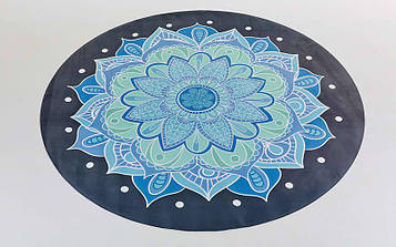 Килимок для йоги замшево-каучуковий з чохлом (3мм двошаровий чорно-блакитний,діаметр 150см)