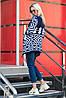 Теплый вязаный кардиган Аризона синий-белый, фото 4