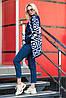 Теплый вязаный кардиган Аризона синий-белый, фото 3