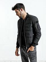 Демисезонная черная мужская куртка бомбер , фото 2
