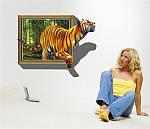Самоклеюча 3D наклейка на стіну Тигр (100х70см), фото 5