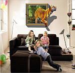 Самоклеюча 3D наклейка на стіну Тигр (100х70см), фото 6